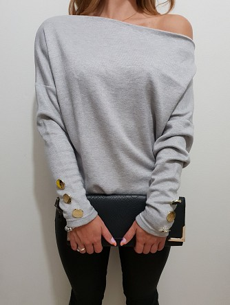 sweter brian button grey
